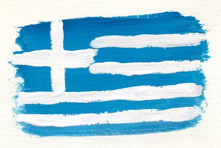 arte greca: bandiera greca abstract acquerello su carta ruvida Archivio Fotografico