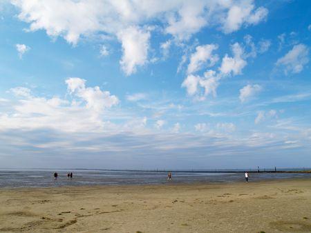 falling tide: people walking on tideland under cloudy blue sky