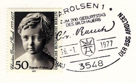 GERMANY - JANUARY 16: special postmark on vintage postage stamp on january 16, 1977 in Arolsen, Germany