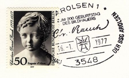 GERMANY - JANUARY 16: special postmark on vintage postage stamp on january 16, 1977 in Arolsen, Germany