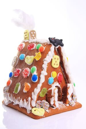 gingerbread house over white photo