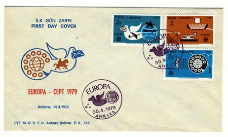 TURKEY - CIRCA 1979: special postmark and vintage postage stamps on commemorative first day cover, europe photo