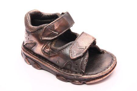bronzed: a bronzed baby shoe Stock Photo