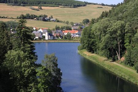 hessen: Helminghausen seen from the dam at lake diemelsee, hessen, germany