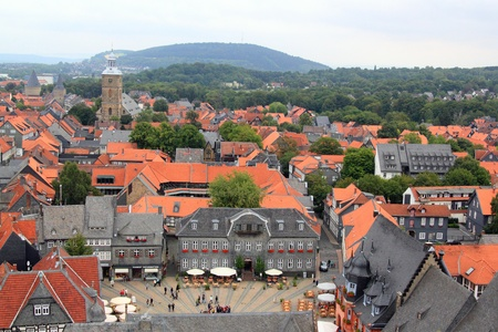 GOSLAR, GERMANY - JULY 25:view over the market place and the old town of goslar,that is included in the list of World Cultural Heritage Sites  , old town June 25, 2011 in Goslar, Germany