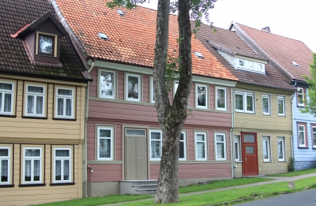 row of typical houses in the german harz region