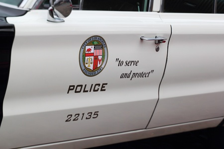 FEHMARN, LOWER SAXONY, GERMANY - SEPTEMBER 08: door of a classic police car from los angeles showing the motto