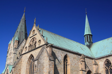 paderborn cathedral under blue sky Stock Photo