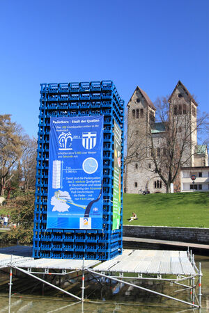 PADERBORN, GERMANY - MARCH 22: istallation showing the amount of water per second from the pader springs , World water day,  March 22, 2010 in Paderborn, Germany Editorial