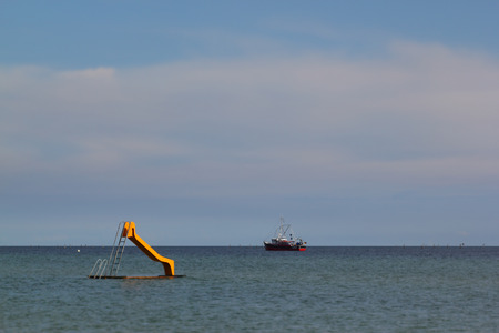 turquise: slide in the water at the coast