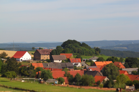 selective focus photo of a small village in central germany