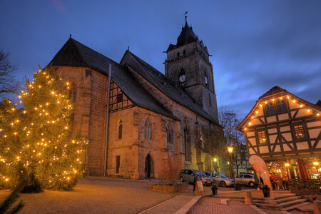 WOLFHAGEN, GER - DEC 16,viw of the maket place and church at christmas time, Wolfhagen, Germany, December 16, 2013