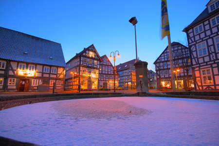 winter evening at historic korbach city center Stock Photo