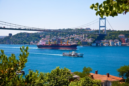 strait:  istanbul strait and sea traffic between Asia and Europe Stock Photo
