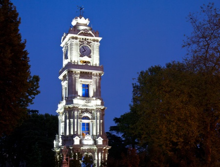 Clock tower in dolmabahce palace in istanbul photo