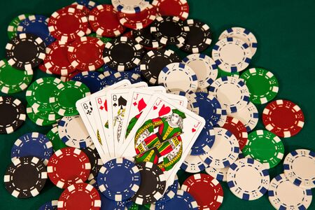 big slick: full house winning hand with chips