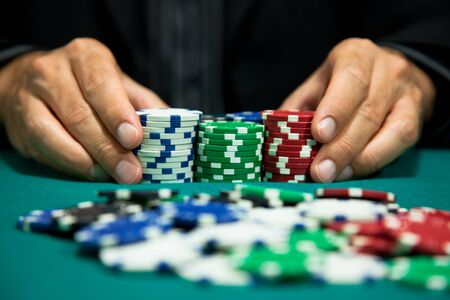 las vegas casino: placing a bet in the game Stock Photo