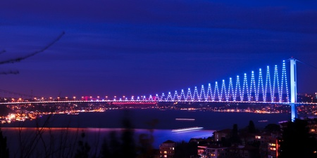 turkey istanbul: Bosphorus Bridge at the night