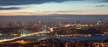 istanbul night: Bosphorus Bridge at the night  Stock Photo