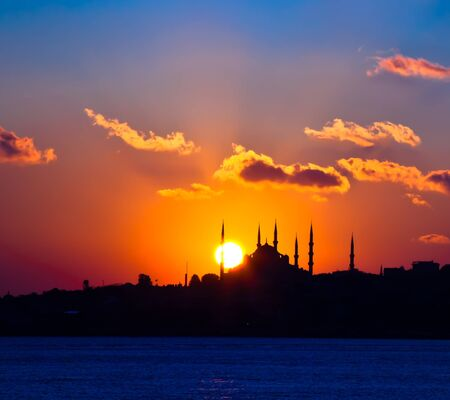 silhouette blue mosque photo