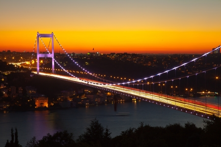 turkey istanbul: Fatih Sultan Mehmet Bridge at evening