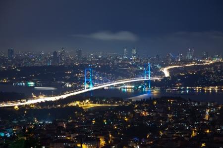 Bosporus Bridge at the night 免版税图像