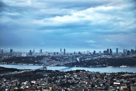 Rainy Istanbul with Bosporus Bridge, HDR shoot 免版税图像