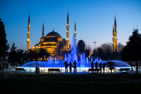 istanbul night: Blue Mosque at the istanbul Turkey