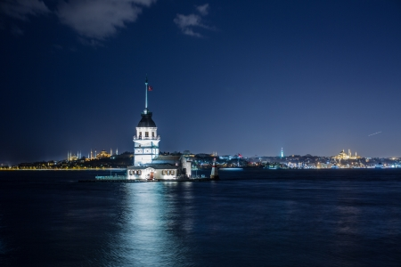 maiden tower at the istanbul turkey 免版税图像