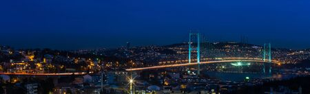 night at Bosporus Bridge istanbul Turkey photo