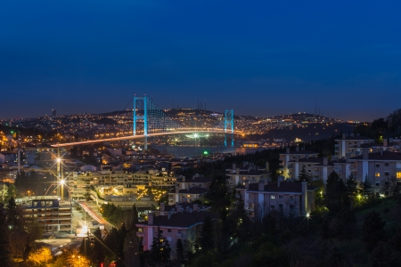 bosporus: night at Bosporus Bridge istanbul Turkey