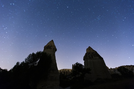 cave house: cave house under the stars at cappadocia Turkey Stock Photo