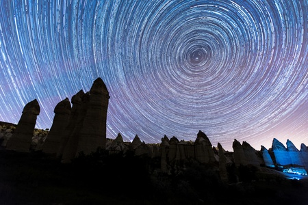 cave house: cave house with star trials at cappadocia Turkey