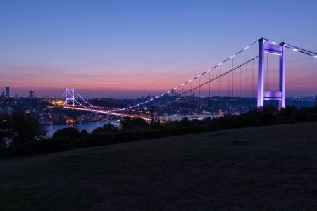 mehmet: blue time Fatih Sultan Mehmet Bridge at Istanbul Turkey 5 Stock Photo