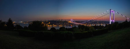 fatih: blue time Fatih Sultan Mehmet Bridge at Istanbul Turkey 4 Stock Photo