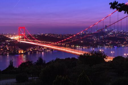 mehmet: blue time Fatih Sultan Mehmet Bridge at Istanbul Turkey Stock Photo