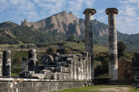 old ruins Artemis Temple of Sardis at Turkey 免版税图像