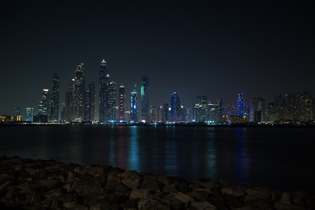 city view of Dubai, skyscraper, different photos of Dubai at sunset, blue hours and night