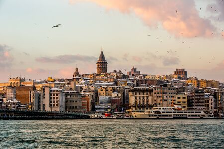 Galata Tower a cloudy sunset at Istanbul Turkey