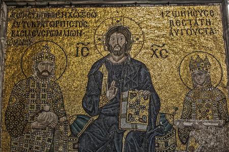 hagia sophia: Mosaic detail Jesus Christ with Emperor Constantine and Zoe in Hagia Sophia Editorial