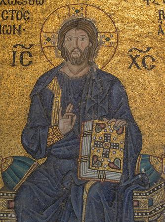sophia: Mosaic detail Jesus Christ in Hagia Sophia Editorial
