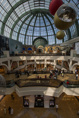 mall of the emirates: people shopping in Mall of the Emirates at Dubai United Arab Emirates, super wide angle Editorial