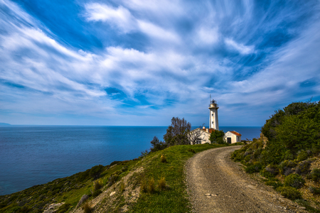A view of beautiful nature landscape with lighthouse and seascape at spring time in Turkey Imagens