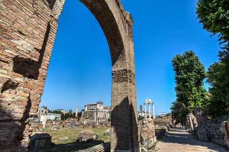 A view of antique Roman Forum (Foro Romano) Rome city, Italy