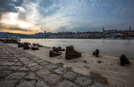 Shoes on the Danube Bank Memorial in Budapest Hungary at winter time