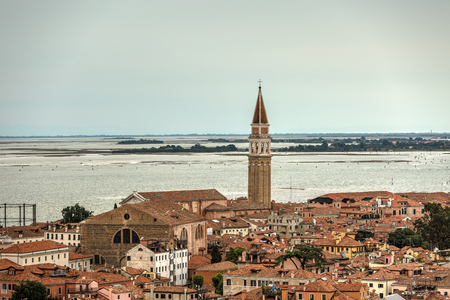 Aerial view of the Venice city scape with grande canal.