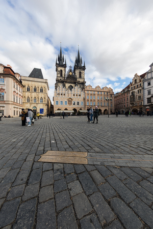 Church of Our Lady Before Týns Towers on Old Town Square at Prague