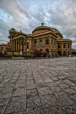 Beautiful Opera house on the Piazza Verdi in Palermo, Sicily