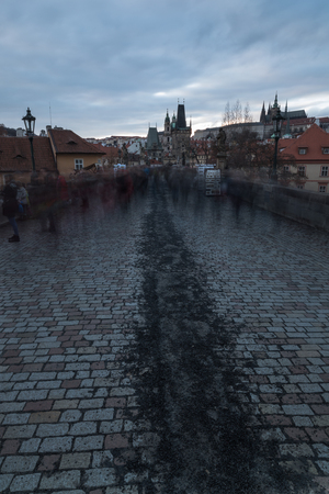 Famous Historic Charles bridge in Prague Czech republic February  17, 2017