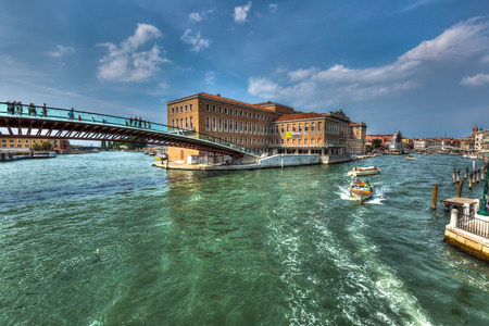 Venice city scape with streets, buildings and boats on canal in beautiful romantic city  Venice Italy at sunny summer day Stok Fotoğraf